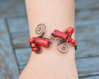 Red Coral Bracelet, wire wrapped jewelry handmade, vibrant bracelet, wrapped bracelet, copper wire jewelry, adjustable, red coral bracelet