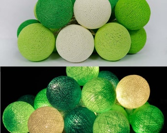 20 Green Tone Cotton Balls String Lights Fairy,Home Lighting/Decoration