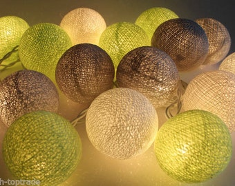 20 mixed Green Gray White Cotton Ball String Lights Fairy lights Party