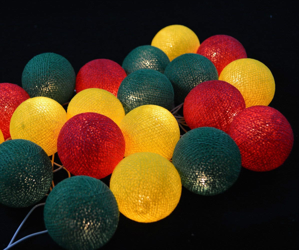 green yellow red cotton ball string lights fairy lights. Black Bedroom Furniture Sets. Home Design Ideas