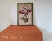 Vintage Handmade Needlepoint Floral Framed Wall Hanging Purple Green Orange