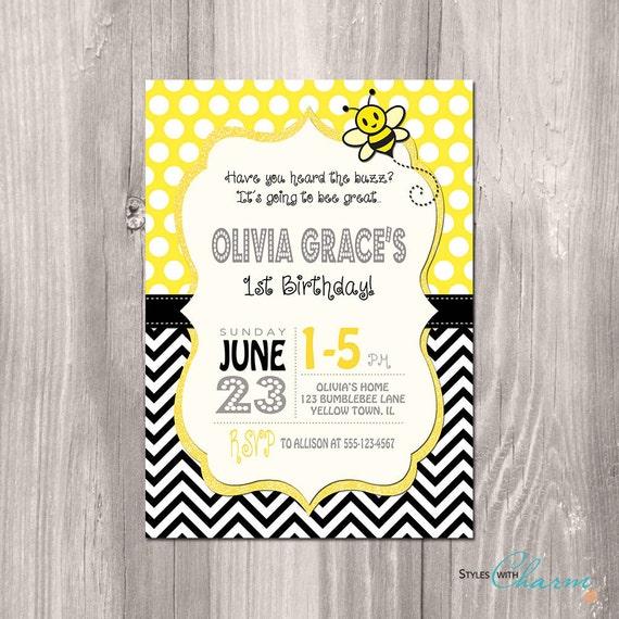 Bumble Bee Birthday Invitation Bee Birthday by StyleswithCharm