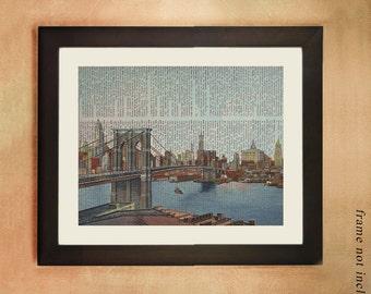 Brooklyn Bridge Dictionary Art Print,  Postcard Hand Colored New York Nyc Manhattan  Wall Art da133