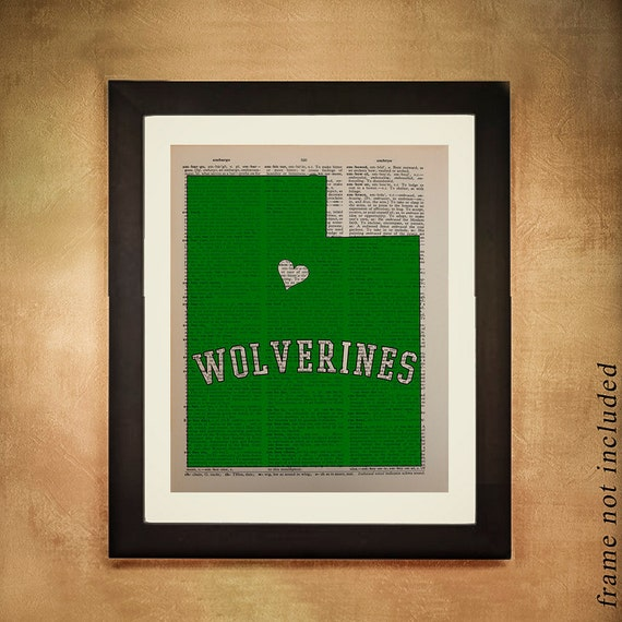 VACATION SALE! Utah Valley Wolverines Dictionary Art Print University Orem Ut Green White  College Wall Art Dorm da217