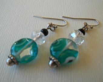 Beth - Aqua glass earrings