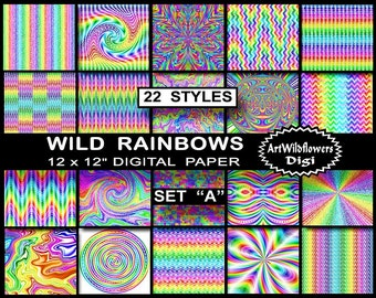 "21 Rainbow Paper - Wild Rainbows Digital Papers - Set A - 12x12"" TieDye Psychedelic Digi Tie Dye Fun for Teachers & Teens - Commercial Use"