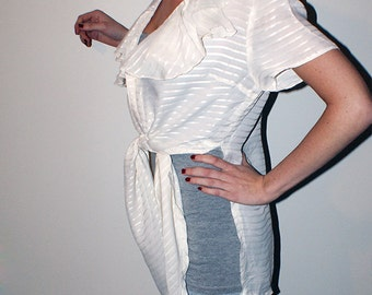 Vintage Striped Ruffled White Blouse with Flounce Details and Tied Hem