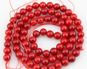 One Full Strand,coral Beads,red coral beads,Gemstone Beads---5-6mm---15.5inches----approx 76 Pieces--BC002