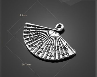 15 Pcs,Fan Antique Silver Charms,Tibetan Silver Pendant Charm,Fan Charms,filigree findings,Jewelry Findings,DIY Accessories--BF110