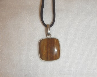 PAY IT FORWARD - Striped jasper pendant necklace set in .925 sterling silver (P143)