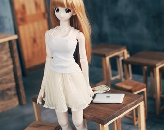 Dollfie Dream & DDDY Accordion skirt Beige