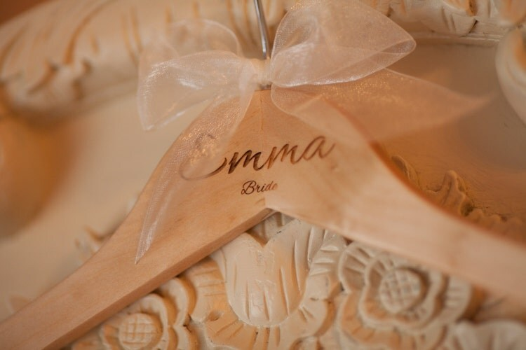 Personalised wedding dress hanger wooden by bespokelaseruk for Personalised wedding dress hanger