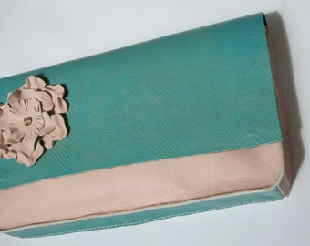 ROSE QUARTZ  clutch bag with Turquoise lambskin and removable brooch