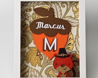 Monogram Squirrel Personalized Art - Decor - Nursery Decor - Shadow Box Art - Christmas gift - Birthday gift - Wall Art