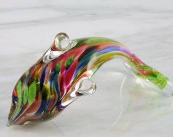 Glass Hand Sculpted Colorful Pacific Island Dolphin