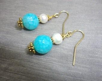 Aqua Agate and Fresh Water Pearl Dangle Earrings