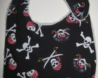 skull and crossbones baby bib