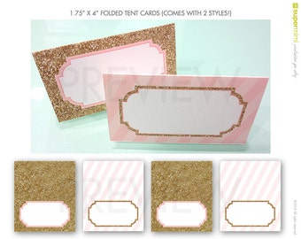 Pink Stripes and Sparkly Gold Tent Cards / Instant Printable Download
