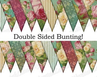 Printable Bunting Digital Bunting Paper Bunting Kitchen Tea Wedding printable banner Double Sided Roses digital roses wedding decorations