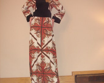 1960s Vintage Black white and red Festival Hippie Boho Maxi dress