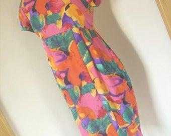 Vintage 80s multicolour orange empire waist dress