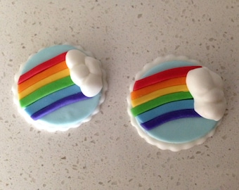 12 Edible Fondant Rainbow Toppers