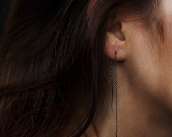 Handmade chain earring #2 in sterling silver or oxidized sterling silver