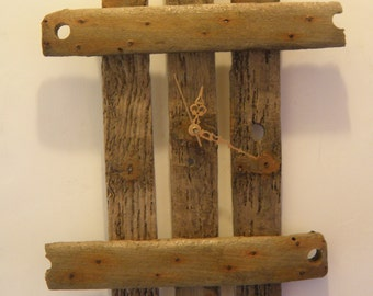 Striking driftwood clock handcrafted from old lobster pot base