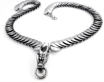 Stainless Steel Dragon Head Pendant & Scale Maille Chain Necklace - Shijin the Wraith