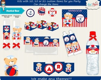 Nautical Bear digital Kit for party Can be for printable or printed