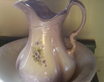 Floral Bowl and Pitcher Set