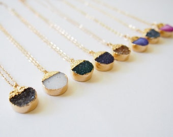 Agate Druzy Gold Necklace Gemstone Gold Necklace Drusy Stone Necklace