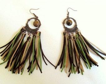 Long Suede Earrings in Brown, Beige and Green
