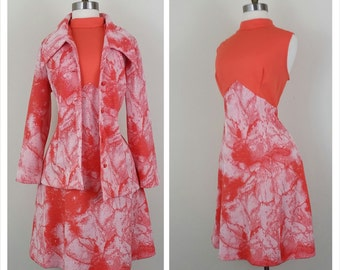 60s Mod Dress Set with Jacket Orange M/L