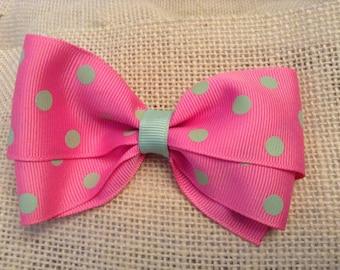 Pink and Green Polka Dot Grosgrain Ribbon Hair Bow