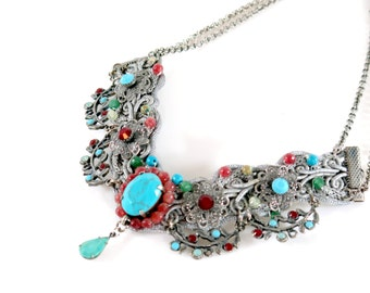 Wedding Jewelry , Bridal Necklace , Turquoise and Ruby  Neclace Wedding Lace Necklce by Talila Korolker