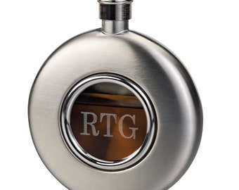 Brushed Stainless Steel Round Flask with Glass Front (e150-1122) - Free Personalization