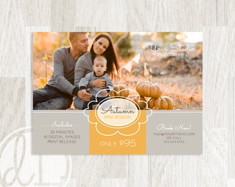 Fall Mini Session Template - Instant Download, Fall Marketing Board, Photoshop Template for Photographers, Autumn Marketing Board