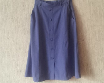 Vintage Women Skirt 1990s Violet  with buttons size EUR38 / UK12