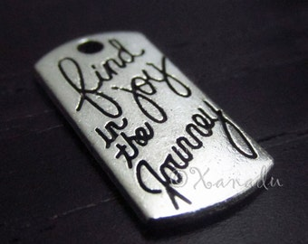 Find Joy In The Journey Charms - 10/20/50 Wholesale Silver Plated Rectangle Pendant Findings C2157