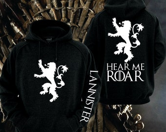 Games of Thrones, House Lanister Black Hoodie with white print Front /back and sleeve