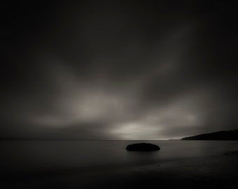 Beach Photography, Long Exposure, Pacific Northwest, Puget Sound, Landscape, Fine Art Black and White Photography, Wall Art, Home Decor