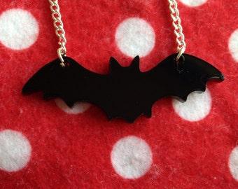 Black Acrylic Bat Necklace Goth Halloween