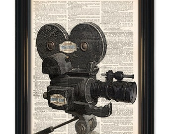 Vintage Movie Camera dictionary art print. Great home theatre decor.Old movie camera & reel on vintage book page-8x10 inch Buy 3 get 1free
