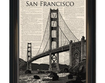 Golden Gate Bridge dictionary art print. Vintage San Francisco on upcycled dictionary page 8x10 inch. Buy any 3 get 1 Free!