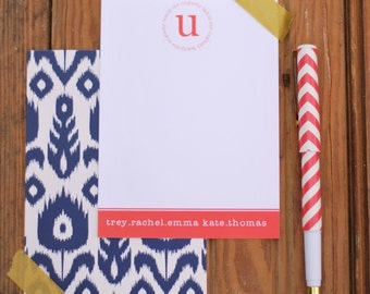 Navy ikat monogram + personalized stationery-FREE SHIPPING or DIY printable