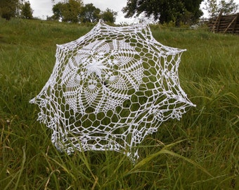 Wedding White Crochet Umbrella photo session accesory Bridal Wedding Umbrella ready to ship