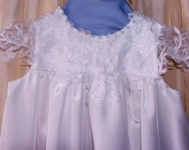 Christening Gown, Baby Dress, taffeta, luxurious lace, satin, Chiffon, ribbon and pears, high quality, fully lined in satin hand washable.