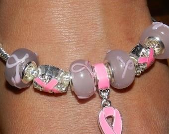 Help Find a Cure. Cancer Awareness European Style Charm Bracelet .  V2220