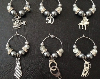 Totally Inspired by Fifty Shades Of Grey wine glass charms